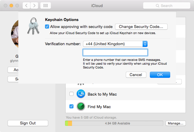 iCloud Keychain phone verification in Preferences