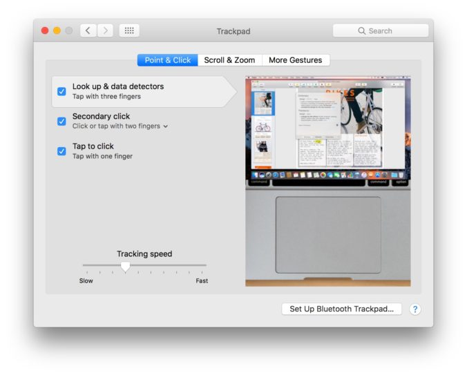 Trackpad preferences in macOS
