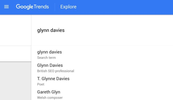 "Google Trends suggested result for ""Glynn Davies"""