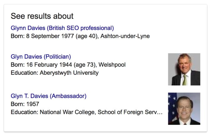 "Disambiguation of search results for ""Glynn Davies"""